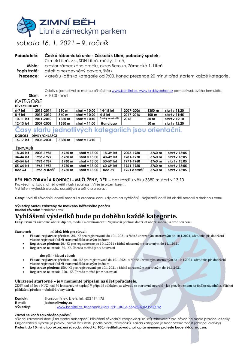 Zimní běh Liteň propozice_9.ročník_2021